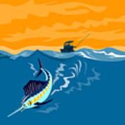 Sailfish Fishing Boat Art Print