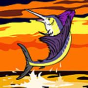 Sailfish Jumping Retro Art Print