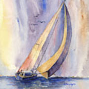 Sailing At Sunset Art Print