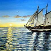 Sailing Day Sunset Art Print