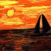 Sailing Home At Sunset Art Print