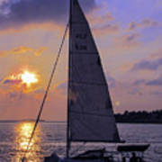 Sailing Home Sunset In Key West Art Print