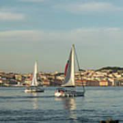 Sailing In Lisbon Portugal Art Print