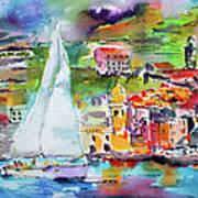 Sailing Past Vernazza Italy Art Print