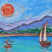 Sailing Red Sun Art Print