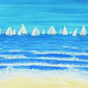 Sailing Regatta White Art Print