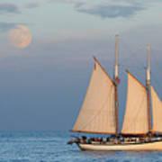 Sailing Ship With Moon Art Print