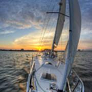 Sailing Sunset Sailboat Fate Charleston  Art Print