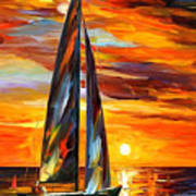 Sailing With The Sun - Palette Knife Oil Painting On Canvas By Leonid Afremov Art Print