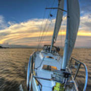 Sailing Yacht And Tropical Storm Ana Outflow  Art Print