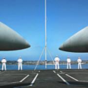 Sailors Aboard The Aircraft Carrier Uss Nimitz  Art Print