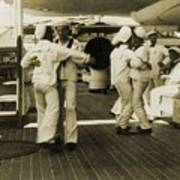 Sailors Aboard The Uss Olympia Waltzing Art Print by Everett