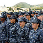 Sailors Yell Before An All-hands Call Art Print by Stocktrek Images