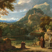Saint Anthony Of Padua Introducing Two Novices To Friars In A Mountainous Landscape Art Print