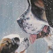 Saint Bernard Dad And Pup Art Print