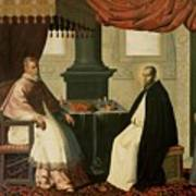 Saint Bruno And Pope Urban II Print by Francisco de Zurbaran