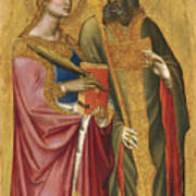 Saint Catherine And A Bishop Saint Possibly Saint Regulus Art Print