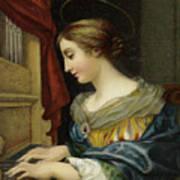 Saint Cecilia Playing The Organ Art Print