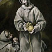 Saint Francis And Brother Leo Meditating On Death Art Print