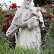 Saint Francis Statue In Carmel Mission Garden Art Print