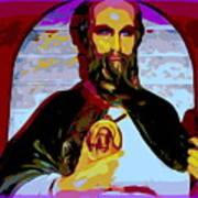 Saint Holding Medallion Art Print