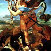 Saint Michael Overthrowing The Demon  Art Print by Raphael