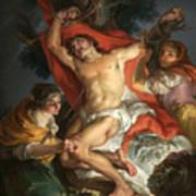 Saint Sebastian Tended By Saint Irene Art Print