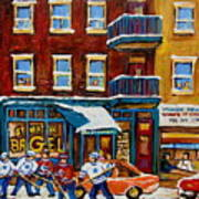 Saint Viateur Bagel With Hockey Art Print