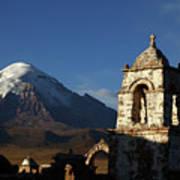 Sajama Volcano And Lagunas Church Belfry Bolivia Art Print