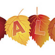Sale Text On Fall Colors Birch Leaves Art Print