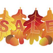 Sale Text On Fall Colors Oak Leaves Art Print