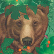 Salmonberry Bear Art Print