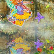 Salmonberry Fairy Merri Goldentree Art Print