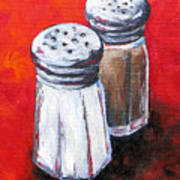 Salt And Pepper On Red Art Print