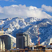 Salt Lake City Skyline Print by Utah Images