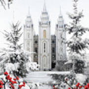 Salt Lake Temple - Winter Wonderland Art Print