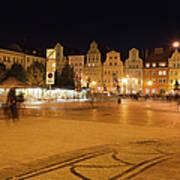 Salt Square In Wroclaw At Night Art Print