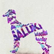 Saluki Dog Watercolor Painting / Typographic Art Art Print