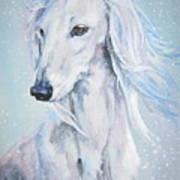 Saluki White Beauty Art Print