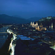 Salzburg, Austria, Night View Art Print