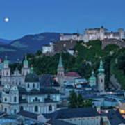 Salzburg City With Hohensalzburg Fortress, Salzburger Land, Austria Art Print