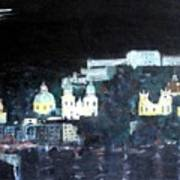 Salzburg In Moonlight Art Print
