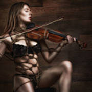 Samantha Bentley/badbentley, Violin - Fine Art Of Bondage Art Print