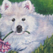 Samoyed Pup With Peony Art Print