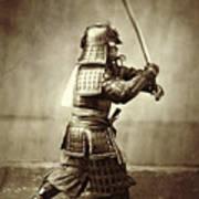 Samurai With Raised Sword Print by F Beato