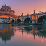 San Angelo Bridge And Castel Sant Angelo Art Print