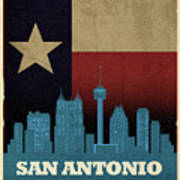 San Antonio City Skyline State Flag Of Texas Art Poster Series 022 Art Print