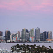 San Diego Skyline And Marina At Dusk Art Print