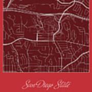 San Diego State Street Map - San Diego State University San Dieg Art Print