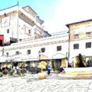 San Felice Circeo Bar And Fountain In The  Square Art Print